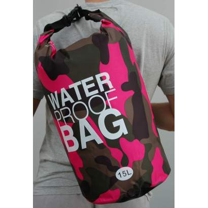 Water proof Dry bag 15L military roze